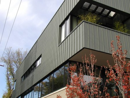 RHEINZINK Graphite-Grey Standing Seam Wall Panels
