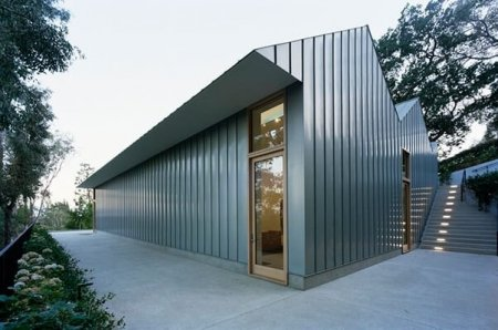 RHEINZINK Blue-Grey Standing Seam Wall Facade Panels