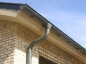 RHEINZINK gutter system - Graphite Grey Gutter and Downspout 2